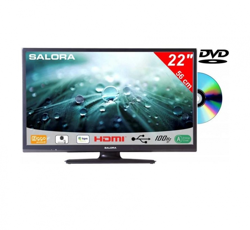 Salora 22LED9109 55cm DVB-C/T2/S-S2 + DVD  CD/Ziggo HD TV